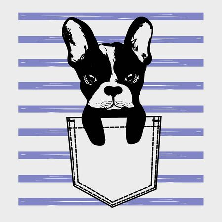 Cute dog Muzzle of frenchie buldog with bunny ears sitting in pocket on stripes. T-shirt print for kids apparel.