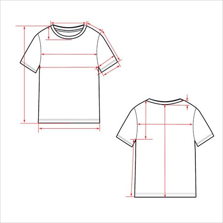 Women's simple t-shirt design. Apparel template, Fashion Flat Sketch vector. T shirt scheme with arrows for e shop, front and back, sewing scheme.
