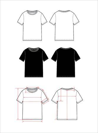 einfaches T-Shirt-Design für Frauen. Bekleidungsvorlage, Fashion Flat Sketch Vektor. T-Shirt-Schema mit Pfeilen für E-Shop, Nähschema.