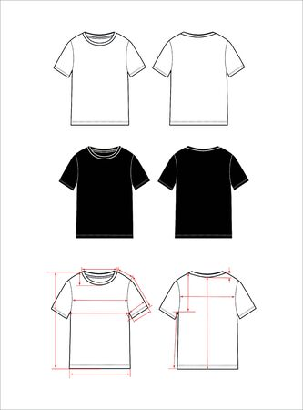 women's simple t-shirt design. Apparel template, Fashion Flat Sketch vector. T shirt scheme with arrows for e shop , sewing scheme.  Illustration