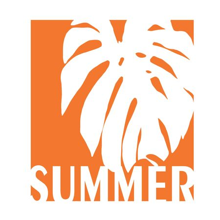 t-shirt print in orange square with monstera placement with text summer. Design t shirt print  .