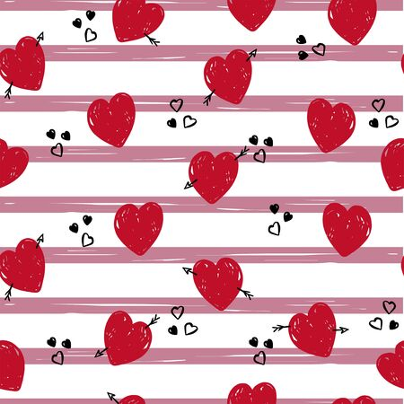 Cute hearts pattern on stripes  for textile, wrapping. Valentine wallpaper. Illustration