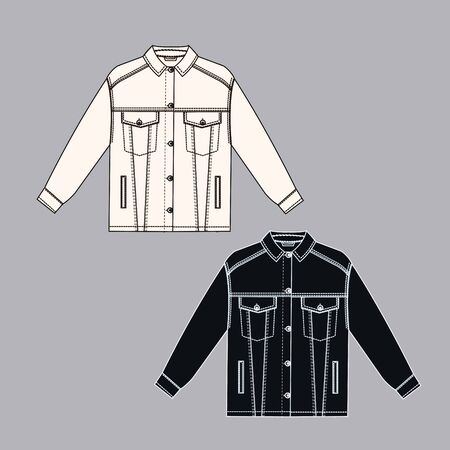 Female jeans jacket technical sketch white and black colors. Cloth technical sketch. outline fashion sketch Illustration