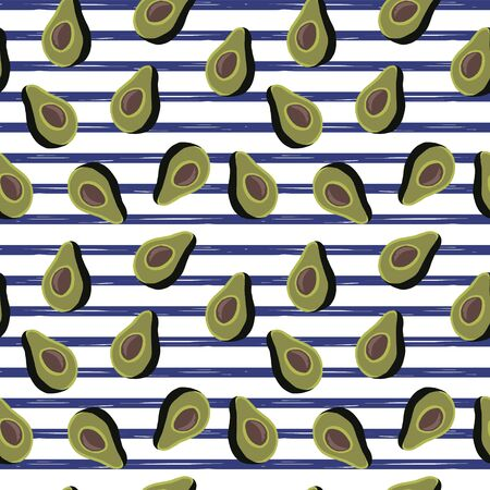 seamless pattern of half avocado on white background and blue stripes.Perfect for textile. Illustration