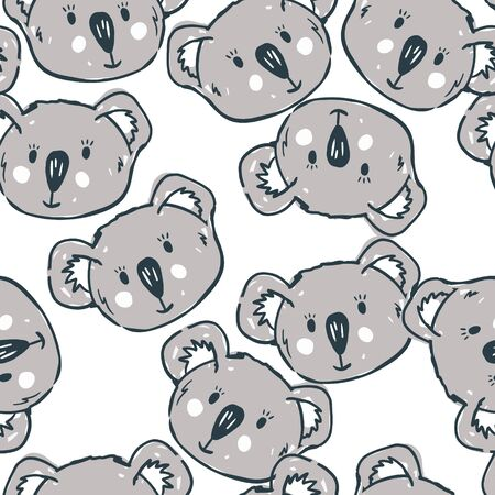 Vector seamless pattern with cute koalas faces. Cute kids wallpaper. Perfect for textile, wrapping and etc.