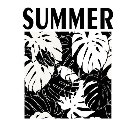 t-shirt print  with palm leaves with text summer vacay mood. Design t shirt print Placement or logotype. Graphic illustration.