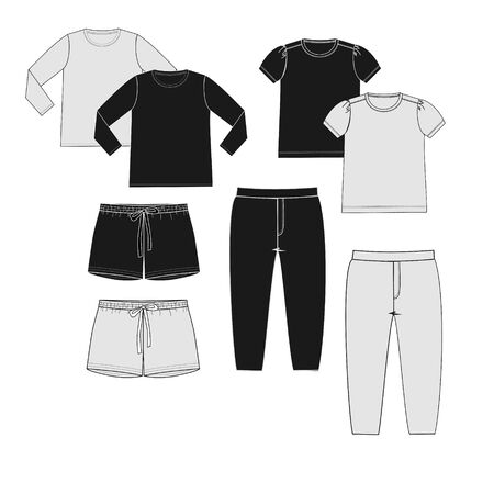 Basic clothes set in black and white colors for teen girl. Front part fashion sketch. Technical drawing with pants, shorts, joggers, t-shirts, longsleeves.