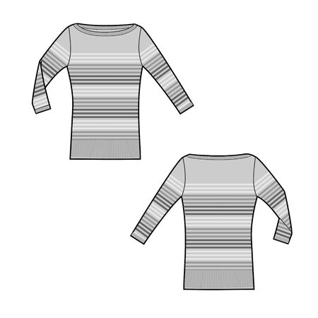 Longsleeve shirt technical sketch of front and back part. Shirt with stripes. Jersey t-shirt template. Female cloth sketch