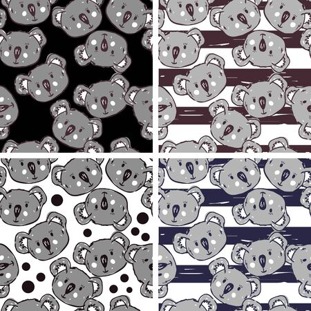 Vector seamless patterns set with cute koalas. Koalas pattern on striped background.Collection of wallpapers with cute koala bears faces.Perfect for textile, wrapping and etc.