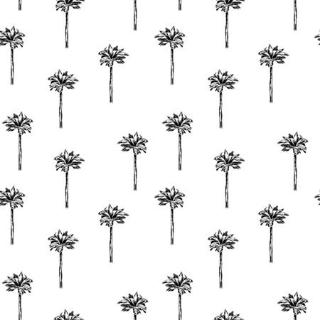 simple graphic palm pattern on white background. Graphic tropical wallpaper. Perfect for textile, wrapping and etc.