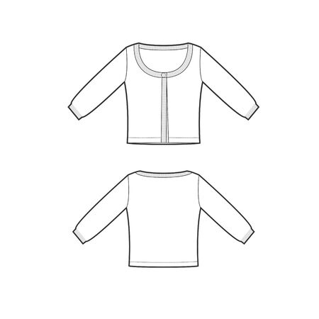 vector template of pullover with long sleeves front and back parts. Jersey cardigan template. Female cloth sketch. Technical sketch of cloth Banque d'images - 148184393