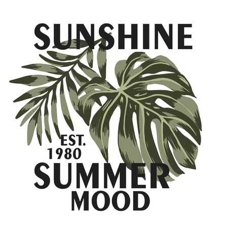 t-shirt print  with green palm leaf and monstera with text summer vacay mood. Design t shirt print Placement . Graphic illustration.