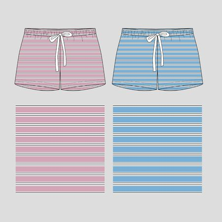Technical sketch of shorts with print pattern with stripes . Front part. Fashion sketch of printed pants collection. Illustration