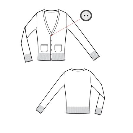 vector template of pullover with long sleeves and pockets front and back parts. Jersey t-shirt template. Female cloth sketch. Technical sketch of cloth