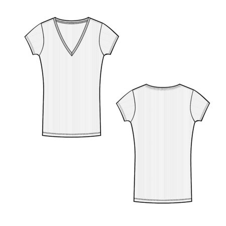 vector template with short sleeve and v neck line t shirt technical sketch of front and back part. Jersey t-shirt template. Female cloth sketch. Technical sketch of cloth