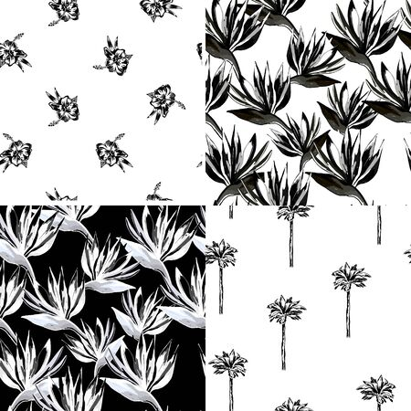 Vector tropical flowers and palms pattern set. Collection of tropical wallpapers on white and black background. Monochrome exotic patterns. Illustration
