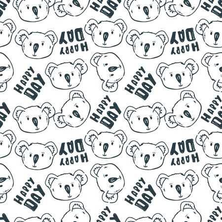 Vector seamless pattern with cute outline koalas faces and text happy day. Cute kids wallpaper.Perfect for textile, wrapping and etc.