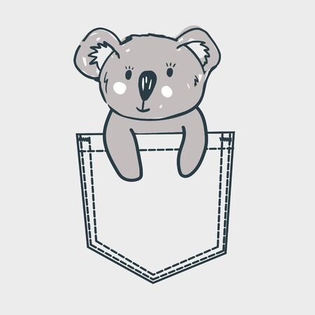 Koala baby bear sitting in pocket. T shirt print for kid appar