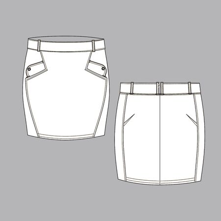 Techniocal sketch of female skirt. Back and front part. Clothes template. Fashion design sketch. Illustration