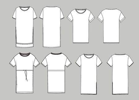 Women's simple long  t-shirt design. Apparel template, Fashion Flat Sketch vector. T shirt scheme front and back, fashion design.