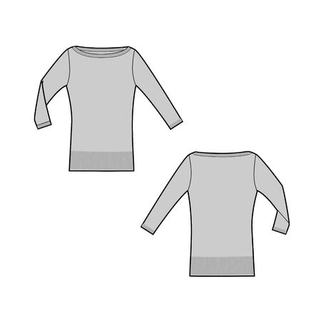 Longsleeve shirt technical sketch of front and back part. Shirt with long sleeve. Jersey t-shirt template. Female cloth sketch Illustration