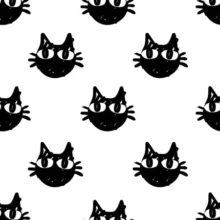 cat vector seamless Pattern isolated on white background.Wallpaper background with cartoon kitty muzzles. Pattern for textile, wrapping and etc. Illustration