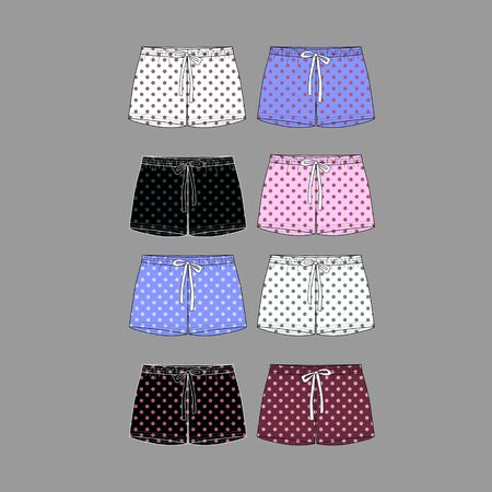 Technical sketch of shorts with print pattern with polka dots. Front part. Fashion sketch of printed pants.  Illustration