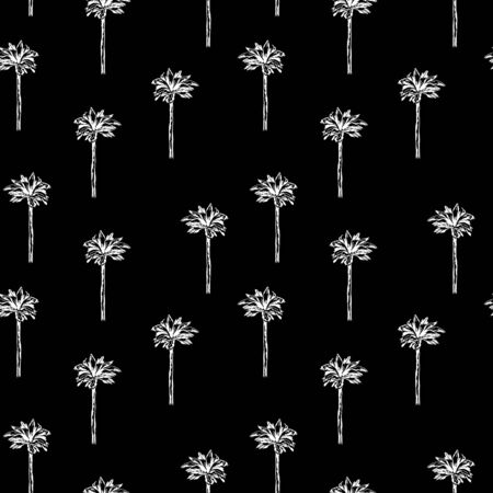 simple graphic palm pattern on black background. Graphic tropical wallpaper. Perfect for textile, wrapping and etc.