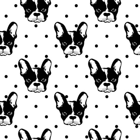 French buldog pattern on dotted background. Perfect for textile, wrapping paper and etc.