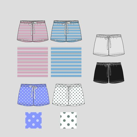 Technical sketch of shorts with print pattern. Front part. Fashion sketch of printed pants.