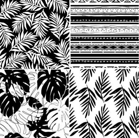 Vector tropical flowers and geometric patterns set. Collection of tropical wallpapers on white and black background. Monochrome exotic patterns. Illustration