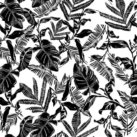 Vector seamless pattern with compositions of graphical tropical leaves, palm leaves,banana leavesand jungle plants. Beautiful black and white tropical seamless background