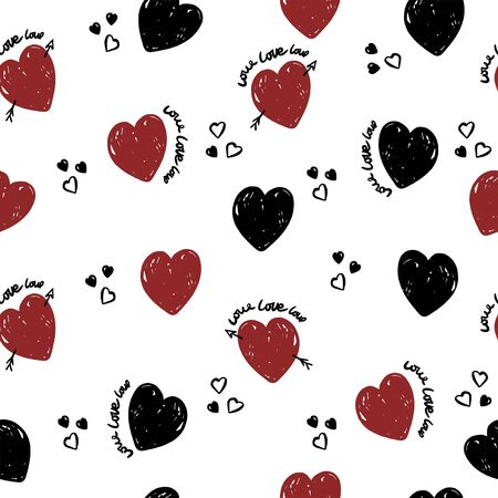 Cute hearts pattern  on white background for textile, wrapping. Valentine wallpaper. Illustration