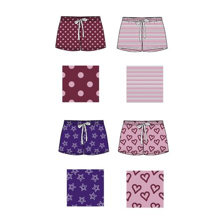 Technical sketch of shorts with print pattern with dots, hearts and striped. Front part. Fashion sketch of printed pants.