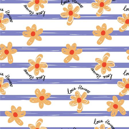 Seamless repeat pattern with simple  orange flowers on violet striped background