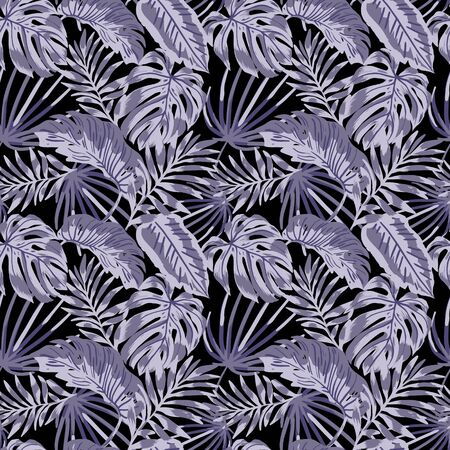 Vector green  jungle leaves pattern on white background. Tropical background. Perfect for textile, wrapping and etc. Illustration