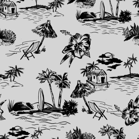 Vector with landscape seamless pattern. Beautiful island landscape exotic nature with silhouette of palm trees, beach and ocean tropical jungle, hibiscus flower, surfing sketch vector texture