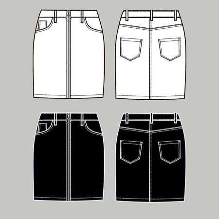 Denim skirt technical sketch with metal zipper, front and backin white and black colors. Scheme of skirt. Fashion cloth vector sketch.