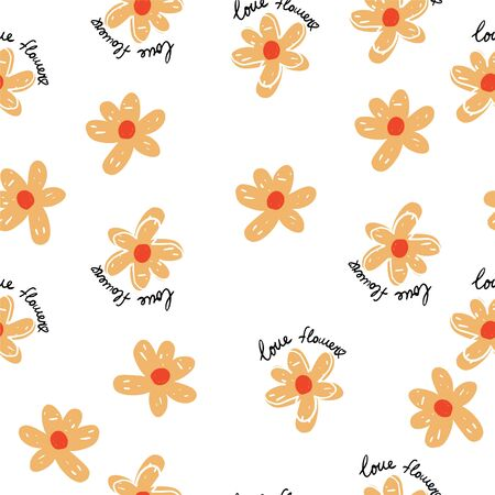 Seamless repeat pattern with simple  orange flowers on white background Illustration