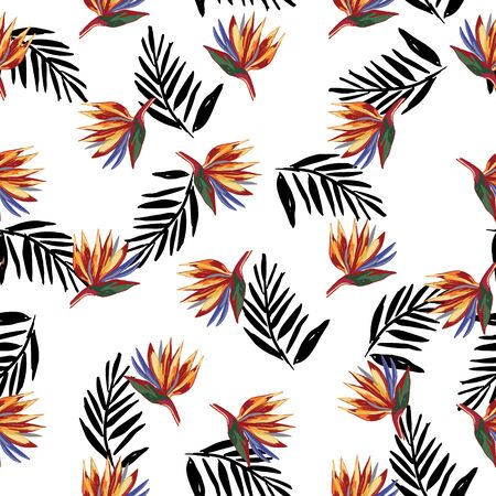 Strelitzia reginae crane flower pattern with black palm leaves on white background. Wallpaper with tropical flowers. Perfect for textile, wrapping.