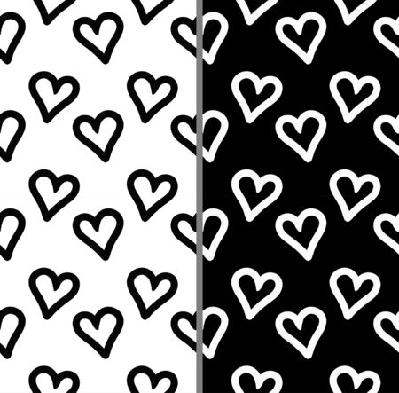 heart simple patterns set. Simple wallpaper collection in  black and white colors. Wallpapers collection.