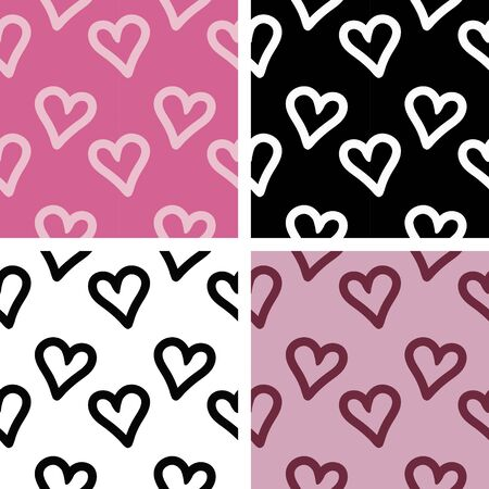 heart simple patterns set. Simple wallpaper collection in pink, black and white colors. Wallpapers collection. Illustration