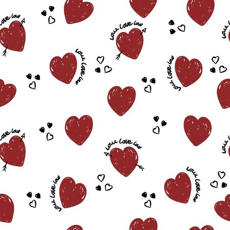 Cute hearts pattern  for textile, wrapping. Valentine wallpaper. Banque d'images - 148206408