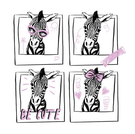 illustration with baby zebras in instant photo frames graphic style with doodle symbols.