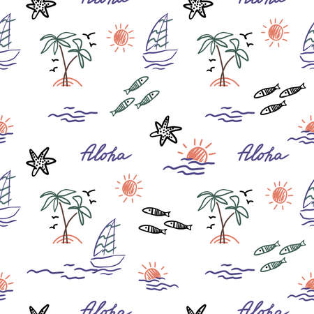 pattern of summer. Palm trees, sun, sea, fish, starfish and yaht for your design. Doodles, sketch. Illustration