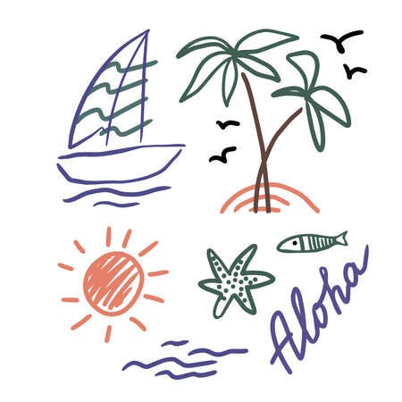 Symbol of summer. Palm trees, sun, sea, fish, starfish and yaht for your design. Doodles, sketch. Illustration