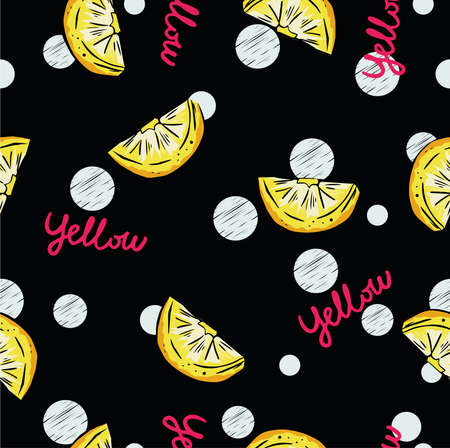slices of lemons on black background with dots and text. Perfect for textile Illustration
