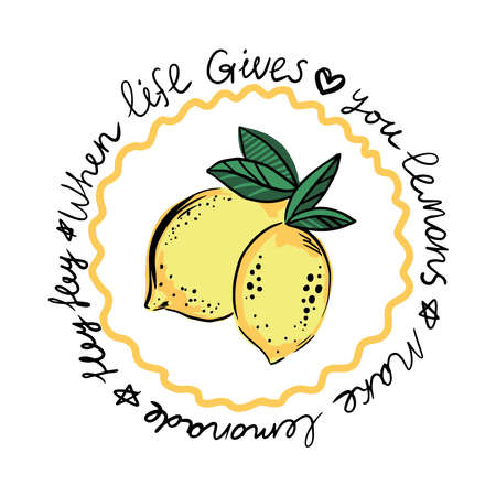 Fresh lemon fruits of vector illustrations with leaves and text. Print for t shirt Illustration