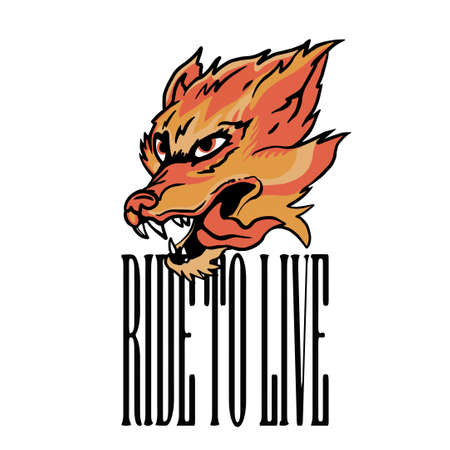 animal Head with Flames Illustration And ride to live slogan Vector Artwork for Apparel and Other Uses