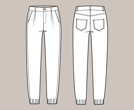 Vector trchnical sketch of joggers pants with cords and pockets. Front and back side. Unisex troussers.